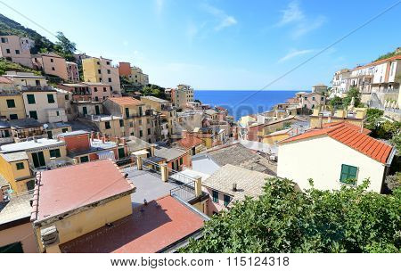 Looking Into Riomaggiore, Small Italian Riviera Town
