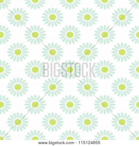 Daisy chamomile vector seamless pattern.
