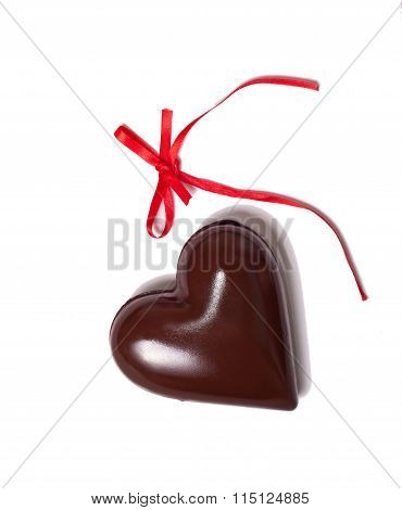 Chocolate Heart And Red Riibbon