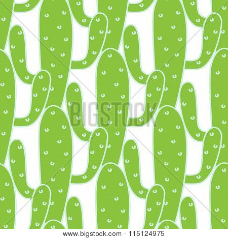 Green cactuses vector seamless pattern.