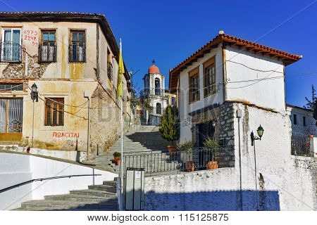orthodox church and houses in old town of Xanthi, East Macedonia and Thrace