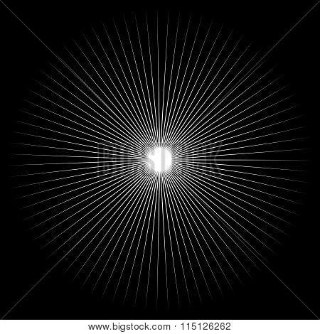 Spiky Shape, Element. Monochrome Abstract Vector Illustration.