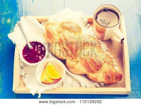 Vintage Photo Of Coffee And Challah. Breakfast Table