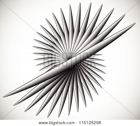 Pointed Rotating Lines. Spiky Abstract Element. Monochrome Vector Illustration