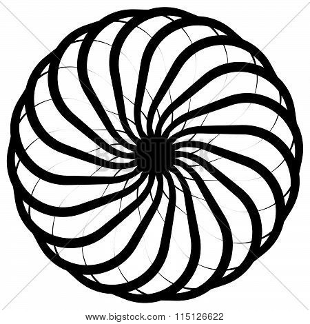 Abstract Circular, Spiral Element On White. Vector.