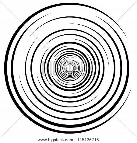 Abstract Swirl, Twirl, Spiral Element, Rotating Shape. Black And White Vector