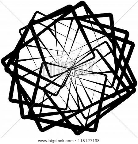 Abstract Spirograph Like Shape With Rotating Squares, Monochrome Twirling Design Element