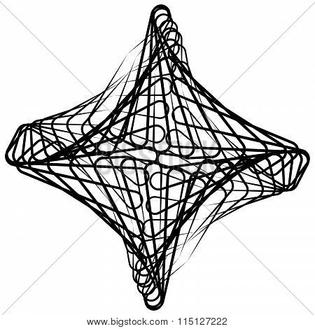 Monochrome Spirograph Element With Intersecting Lines. Abstract Vector Shape.