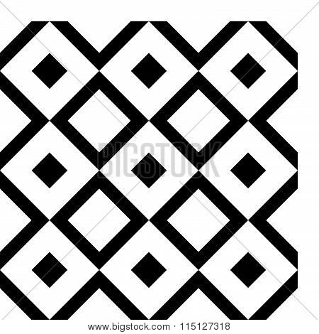 Abstract Circular Element With Scattered Overlapping Squares. Monochrome Vector Shape.