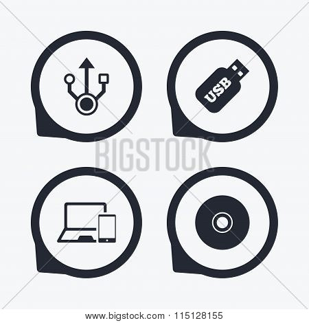 Usb flash drive icons. Notebook or Laptop pc.