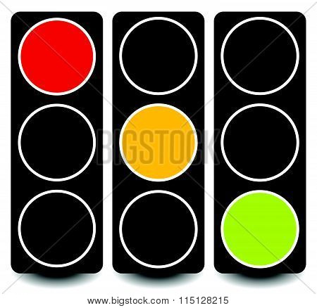 Vector Traffic Lights, Lamps, Semaphores In Sequence On White.