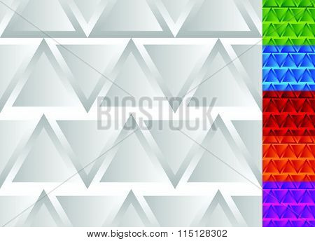 Seamless Pattern With Triangles In Grayscale And 5 Colors.
