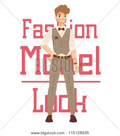 Beautiful vector cartoon fashion boy model constructor  look standing over white background. Cartoon fashion young man. Modern beauty looks. Some modern everyday clothes icons