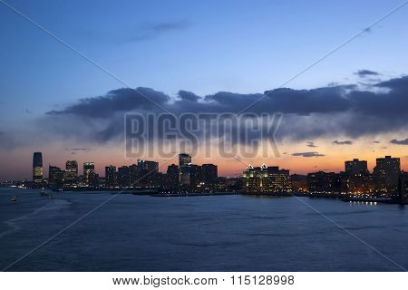 Jersey City Coast At Sunset