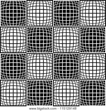 Mosaic Background With Distorted Tiles Of Squares. Abstract Monochrome Pattern. Seamlessly Repeatabl