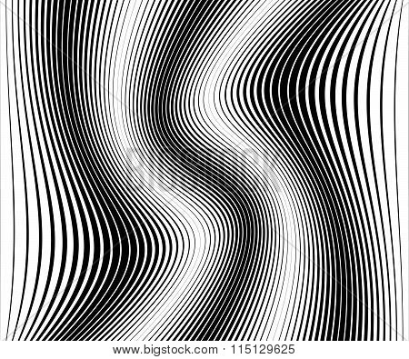 Abstract Monochrome Vector With Distortion, Deformation Effect.