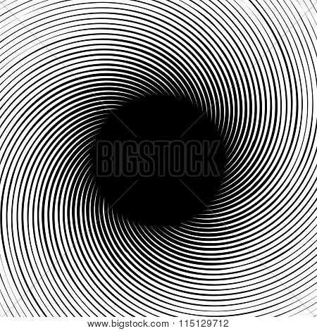 Abstract Swirly Shape. Black And White Vector.