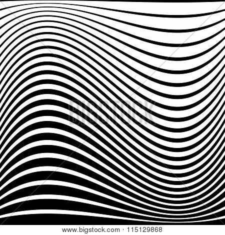 Warped, Distorted Lines Abstract Monochrome Pattern / Background. For Your Designs