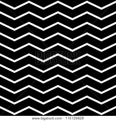Horizontal Zigzag Or Wavy Lines Monochrome Pattern. Repeatable.