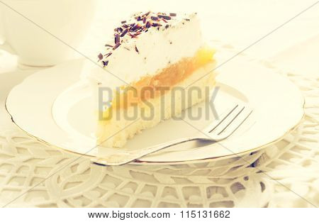 Vintage Photo Of Apple Pie With Whipped Cream