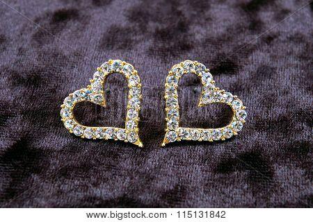 Earrings-heart on velvet