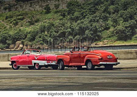 CUBA, HAVANA-JULY 6, 2015: Classic american car on a street in Havana. Cubans use the retro cars as