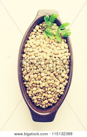 Vintage Photo Of Lentil In A Clay Bowl