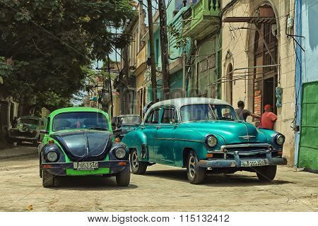 CUBA, HAVANA-JULY 6, 2015: Classic american cars on a street in Havana
