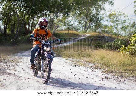 Off-road motorcycle riders trains in the Tg Kubung, Labuan.