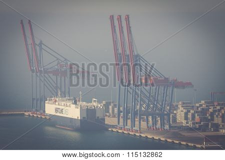 Malaga, Spain - May 2: Container Terminal In The Industrial Port Of Malaga.may 2, 2014 In Malaga, An