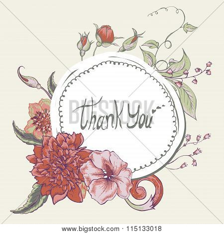 Vintage botanical greeting card with blooming peony