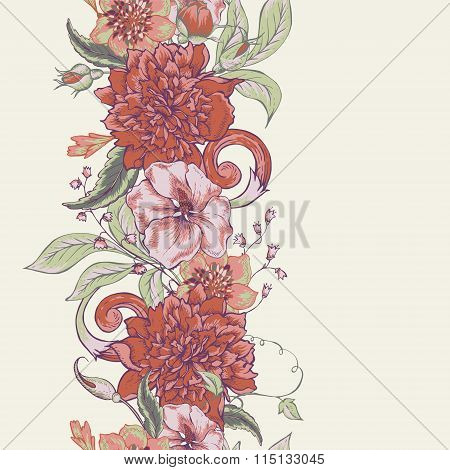 Vintage botanical seamless border with blooming peony