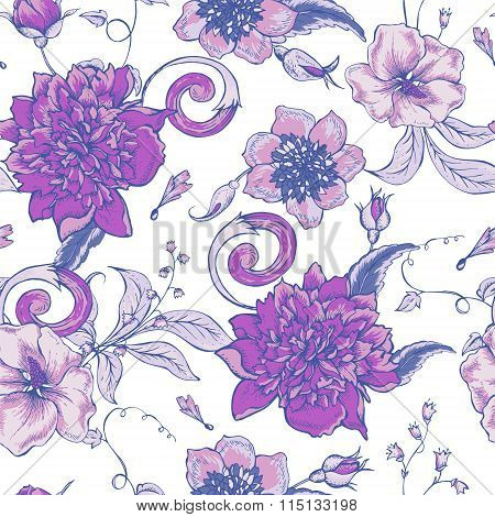 Vintage botanical seamless pattern with blooming peony