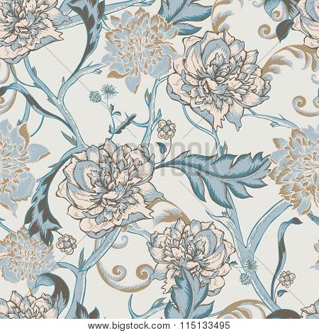 Seamless pattern with blooming peony
