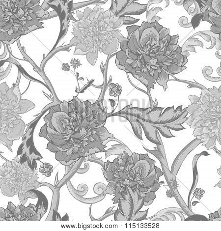 Monochrome seamless pattern with blooming peony