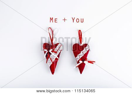 Two Red Valentine Hearts Isolated On White