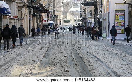 Istiklal Avenue In Winter