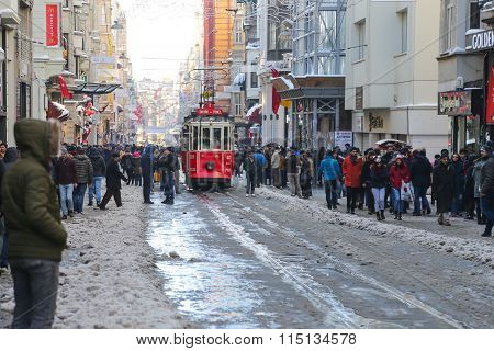 Red Tram On Istiklal Avenue