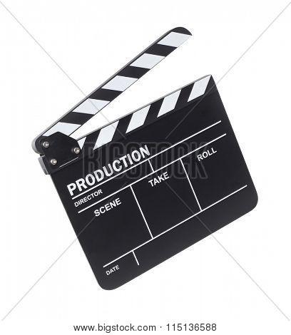 Movie clapper on white background