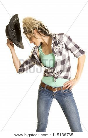 Cowgirl Plaid Shirt Black Hat Just Off Head