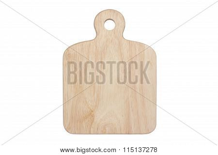 Wooden Chopping Block Isolated With White Background.