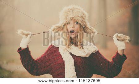 Surprised Pretty Fashion Woman In Fur Winter Hat