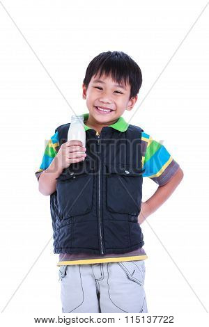 Boy Smiling And Holding Bottle Of Milk, On White.