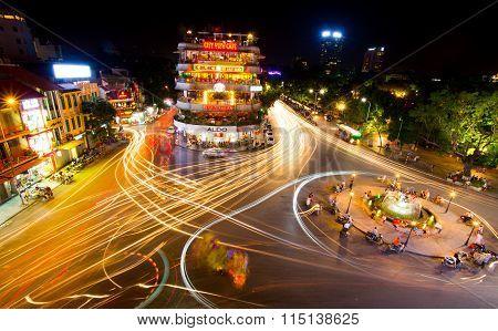 Hanoi old quarter at night