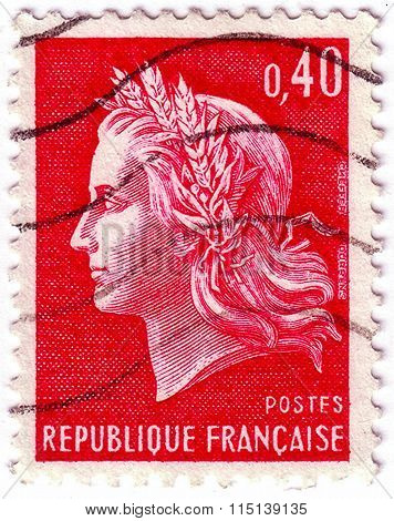 France - Circa 1969: A Stamp Printed In France Shows The Portrait Of A Marianne, Series, Circa 1969