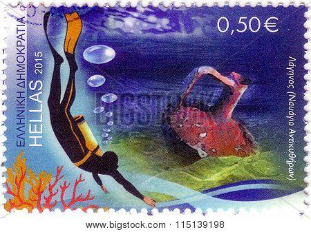Greece - Circa 2015: A Stamp Printed In Greece Shows Diver, Circa 2015