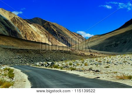 Concrete Road At Leh, Ladakh, Jammu And Kashmir, India