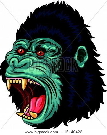 Angry gorilla head character isolated on white background