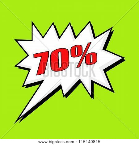 70 Percent Wording Speech Bubble