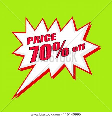 Price 70 Percent Wording Speech Bubble